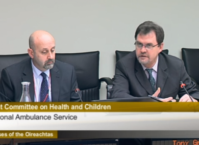 Tony Gregg  addressing the Joint Oireachtas Committee